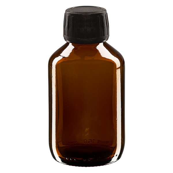 150ml Euro-Medizinflasche braun mit schwarzem Schraubverschluss OV