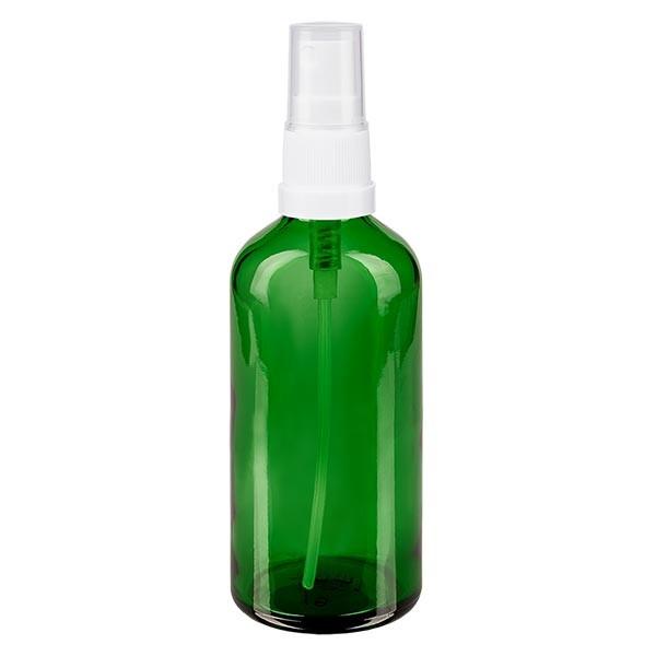 Grünglasflasche 100ml mit Pumpzerstäuber weiss