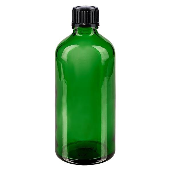 Apothekenfl. grün 100ml Tropfv. 1mm schwarz St
