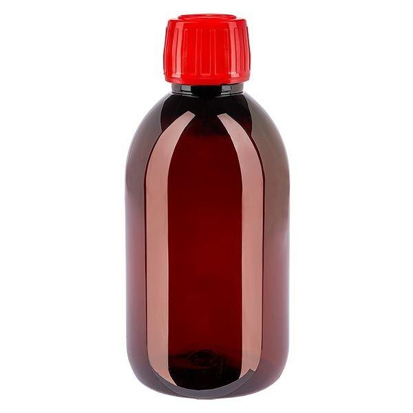 PET Medizinflasche 250ml braun (Sirupflasche) PP28, mit rotem OV