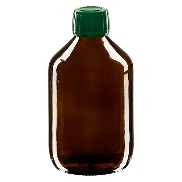 300ml Euro-Medizinflasche braun mit grünem Schraubverschluss OV