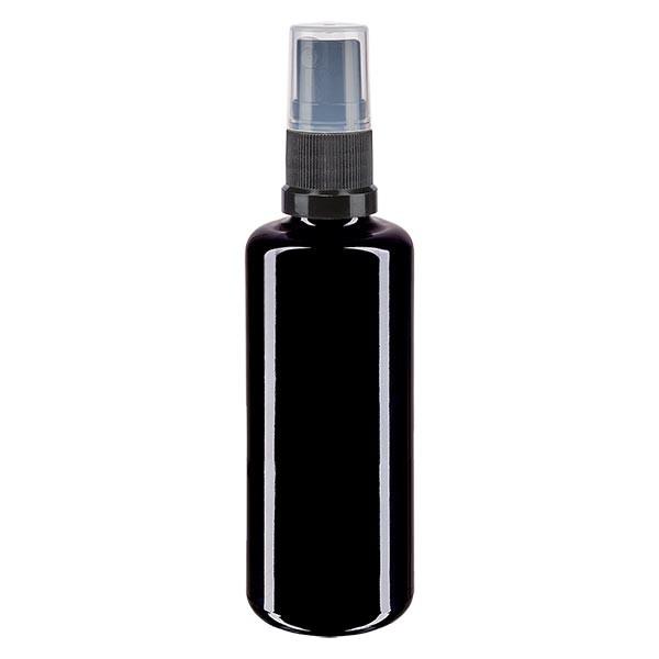 Violettglasflasche 50ml mit Pumpzerstäuber schwarz