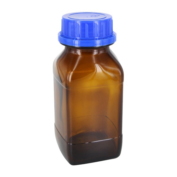 500 ml quadratische Weithalsflasche Braunglas inkl. Schraubverschluss OV DIN54 blau mit EPE-Einlage