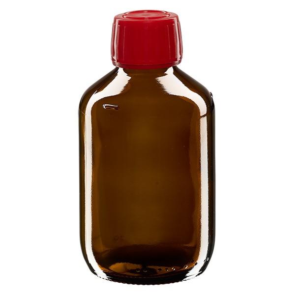 200ml Euro-Medizinflasche braun mit rotem Schraubverschluss OV