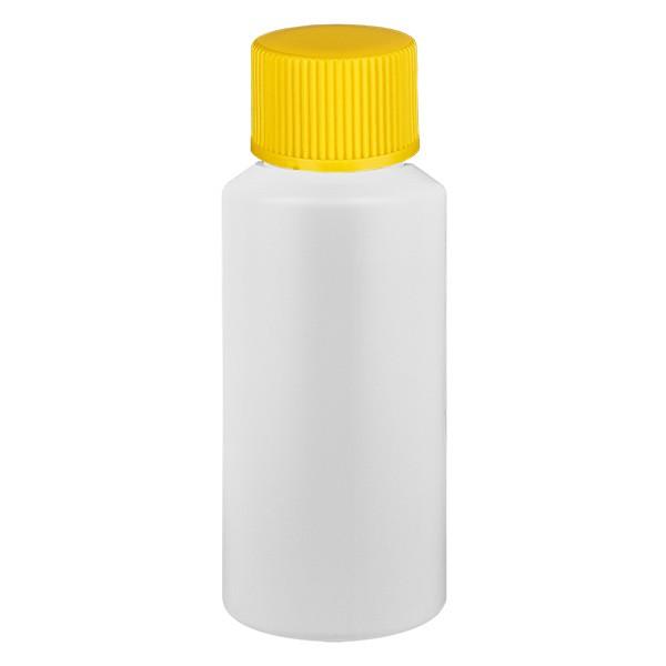 PET Zylinderflasche 30ml weiss, S20x3 mit gelbem SV