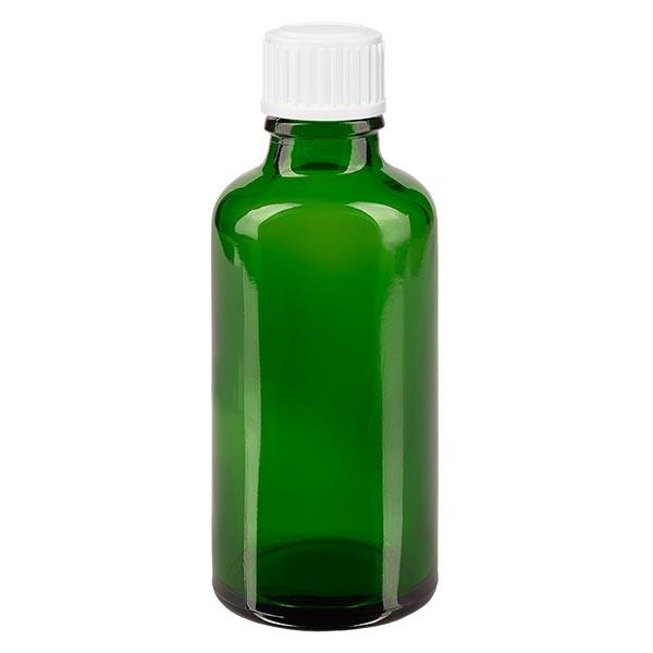 Apothekenfl. grün 50ml Schraubv. weiss Globuli St