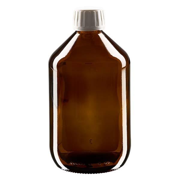 500ml Euro-Medizinflasche braun mit weissem Verschluss