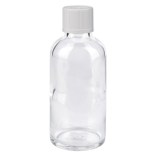 Apothekenflasche klar 50ml Schraubverschluss weiss KiSi St