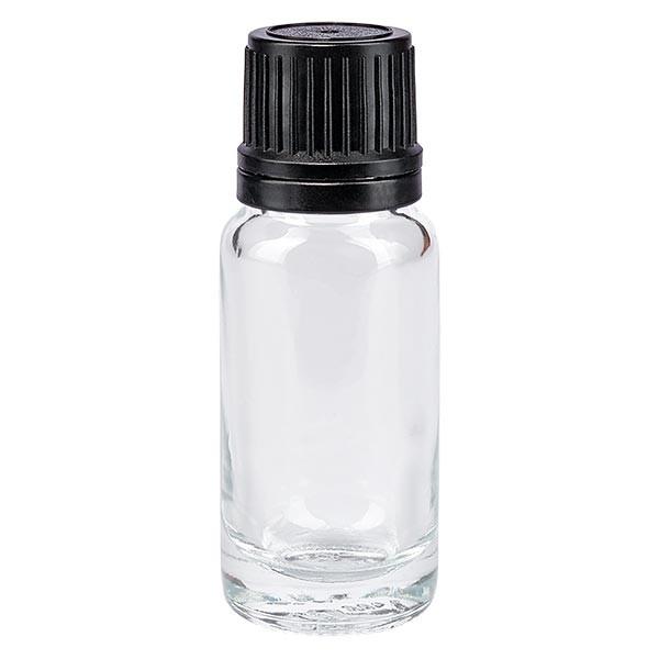 Apothekenflasche klar 10ml Tropfverschluss Pr. 1mm schwarz OV