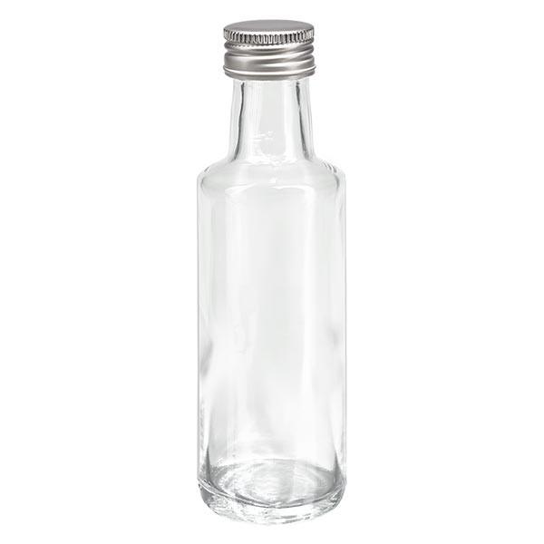 100ml Likörflasche rund Klarglas inkl. Alu Schraubverschluss Silber (PP 24mm)