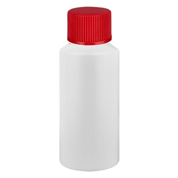 PET Zylinderflasche 30ml weiss, S20x3 mit rotem SV
