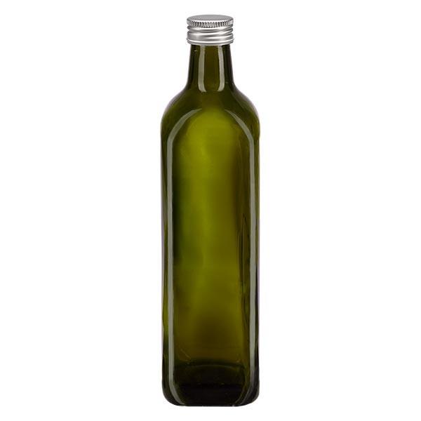 750ml Ölflasche eckig Olivgrün inkl. Alu Schraubverschluss Silber (PP 31.5mm)