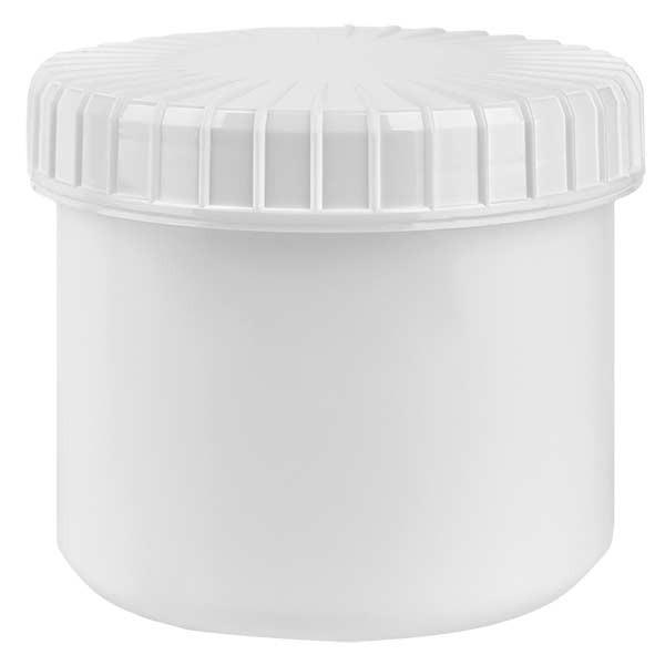 Kunststoffdose 135ml weiss mit gerilltem weissen Schraubdeckel aus PE, Verschlussart Standard