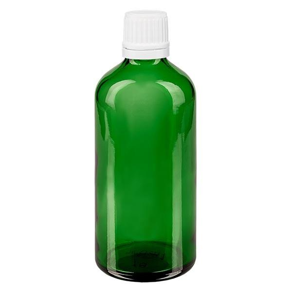 Apothekenfl. grün 100ml Schraubv. weiss OV