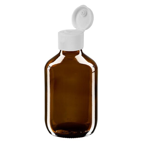 200ml Euro-Medizinflasche braun mit weissem Klappverschluss