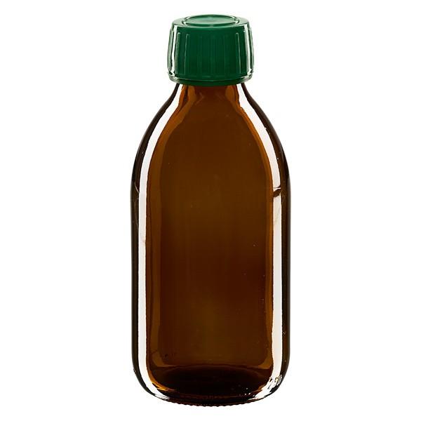 250ml Euro-Medizinflasche braun mit grünem Schraubverschluss OV