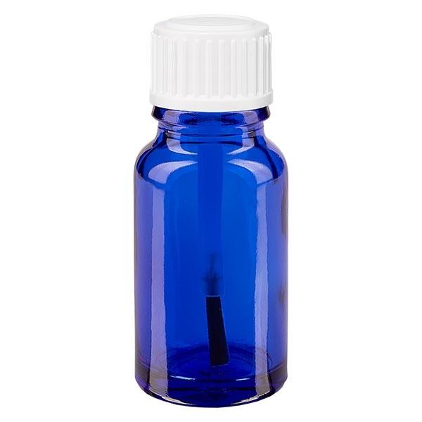 Apothekenfl. blau 10ml Schraubv. weiss Pinsel OV
