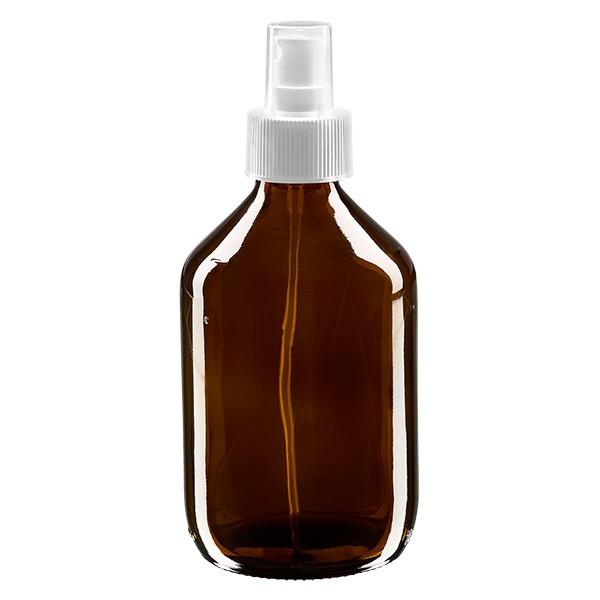 300 ml Euro-Medizinflasche braun mit weissem Zerstäuber inkl. transparenter Kappe