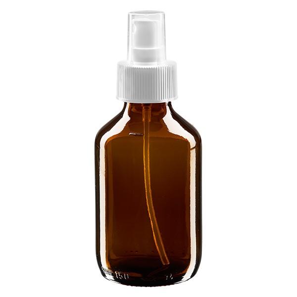 150 ml Euro-Medizinflasche braun mit weissem Zerstäuber inkl. transparenter Kappe