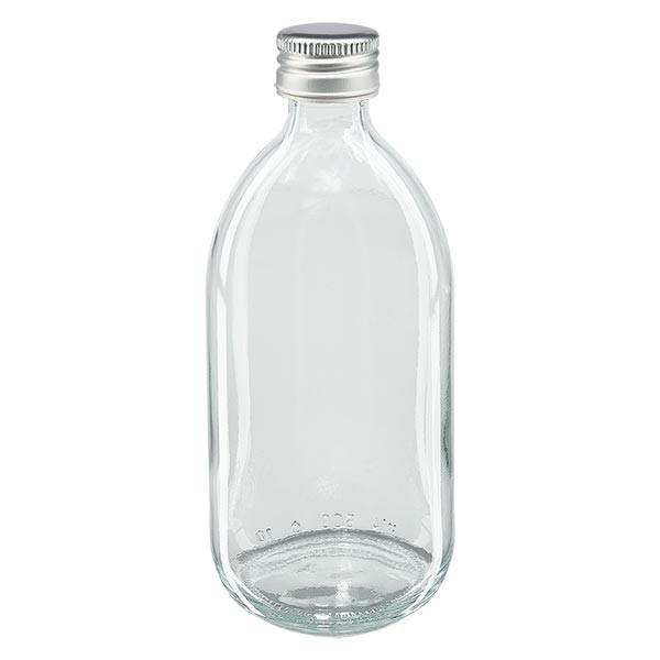 500ml Euro-Medizinflasche klar mit silbernem Aluminiumverschluss ohne Rollrand