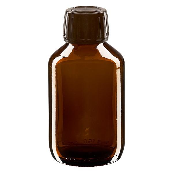 150ml Euro-Medizinflasche braun mit braunem Schraubverschluss OV