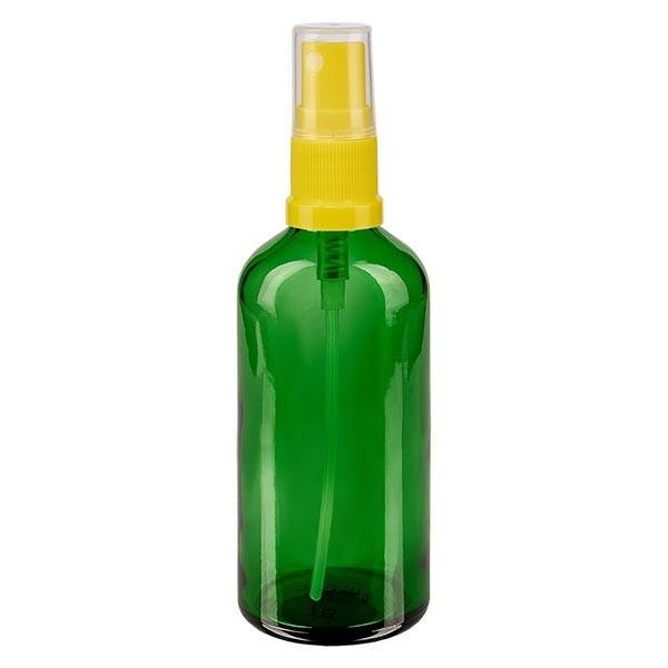 Grünglasflasche 100ml mit Pumpzerstäuber gelb