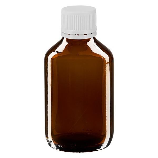 150ml Euro-Medizinflasche braun mit weissem Verschluss OV