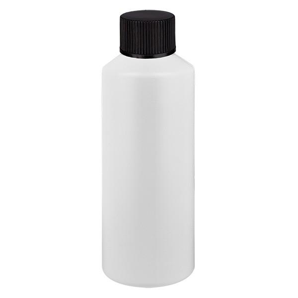PET Zylinderflasche 75ml weiss, S20x3 mit schwarzem SV