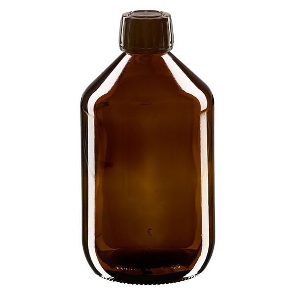 500ml Euro-Medizinflasche braun mit braunem Schraubverschluss OV