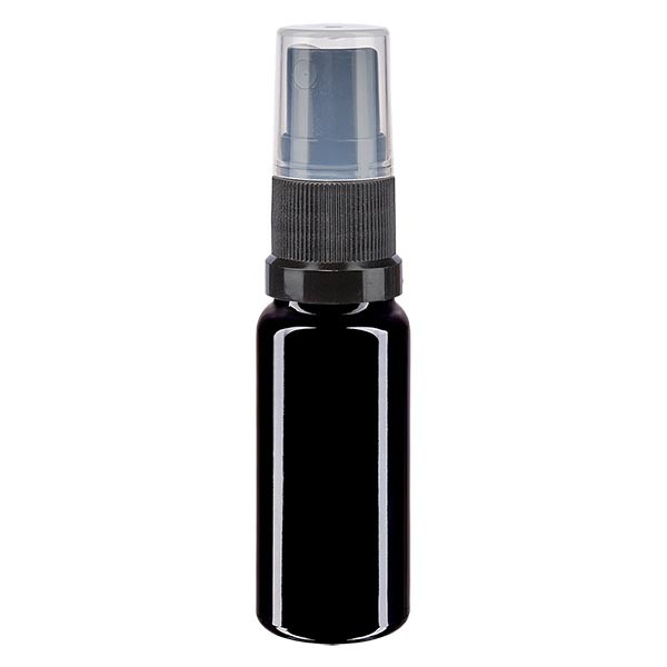 Violettglasflasche 10ml mit Pumpzerstäuber schwarz