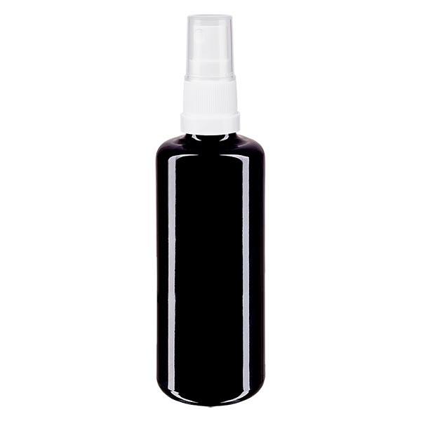 Violettglasflasche 100ml mit Pumpzerstäuber weiss