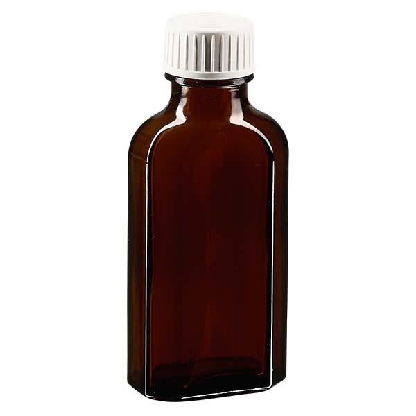 50 ml braune Meplatflasche mit DIN 22 Mündung, inklusive Schraubverschluss DIN 22 weiss aus PP mit P