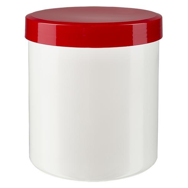 Salbenkruke 20g weiss mit Schraubdeckel rot (PP)