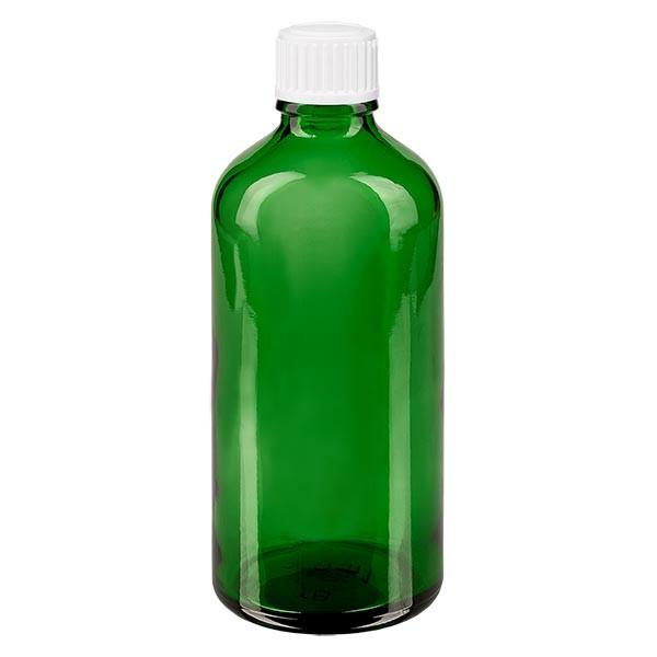 Apothekenfl. grün 100ml Schraubv. weiss St