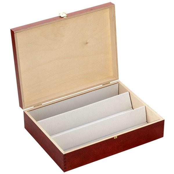 Mahagoni Holzbox für Flaschen, lackiert, geöffnet