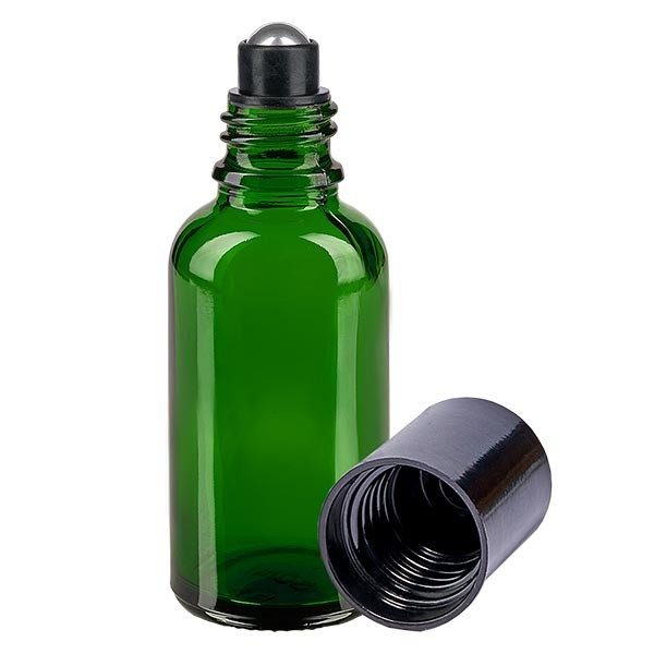 Glas Deostick Flasche grün 30ml, leerer Deo Roller (Roll On)