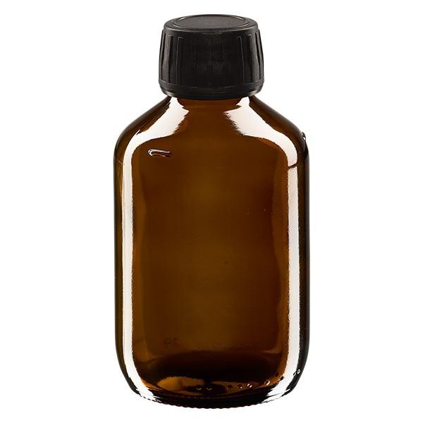 200ml Euro-Medizinflasche braun mit schwarzem Schraubverschluss OV