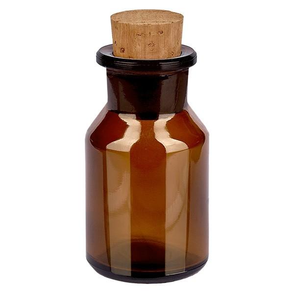 50 ml Steilbrustflasche Weithals Braunglas inkl. Korken