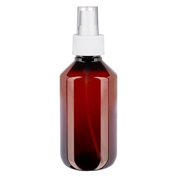 200 ml PET Medizinflasche mit Zerstäuber weiß GCMI 28/410 inkl. Kappe transparent, Standard
