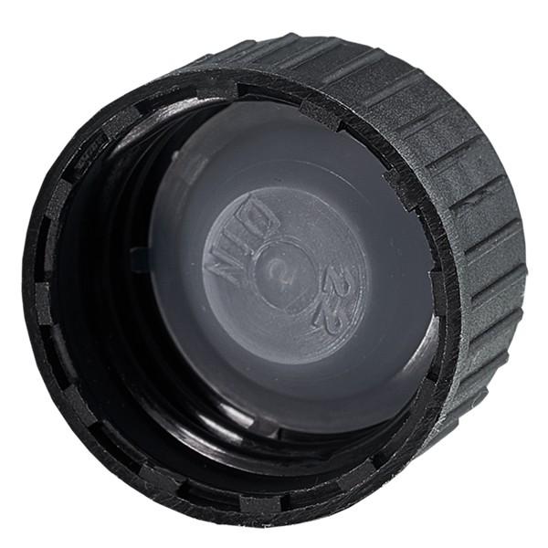 Schraubverschluss DIN 22 Schwarz aus PP mit LKD-Dichtscheibe