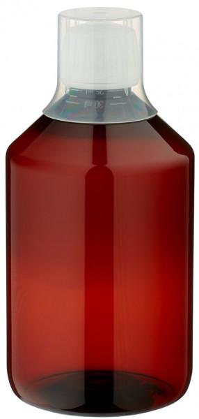 500 ml PET Medizinflaschen mit weißem Schraubverschluss OV und Dosierbecher 30ml Naturfarbe