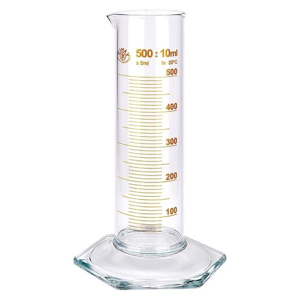 Messzylinder 500ml braun graduiert niedrige Form ISO 4788