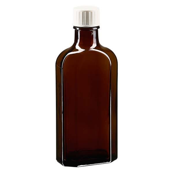 125 ml braune Meplatflasche mit DIN 22 Mündung, inklusive Schraubverschluss weiss mit Giessring