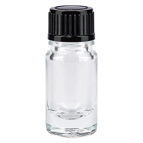 Apothekenflasche klar 5ml Tropfverschluss 1mm schwarz Standard