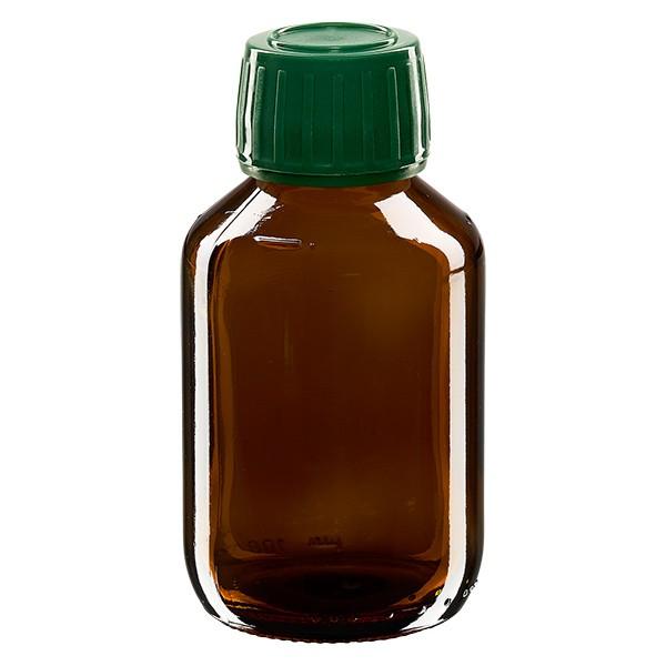 100ml Euro-Medizinflasche braun mit grünem Schraubverschluss OV