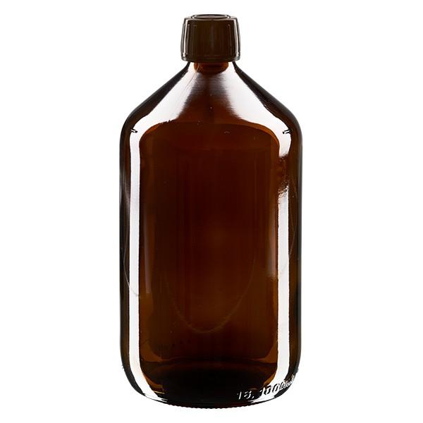 1000ml Euro-Medizinflasche braun mit braunem Schraubverschluss OV