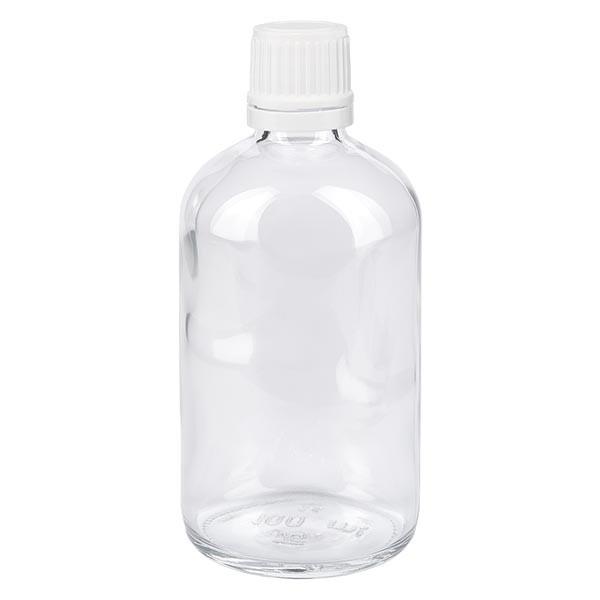 Apothekenflasche klar 100ml Tropfverschluss 1.2mm weiss OV