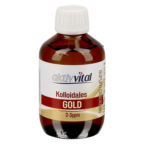 200 ml Kolloidales Gold Aktiv-Vital, 2-3ppm, Braunglasflasche mit Originalitätsverschluß