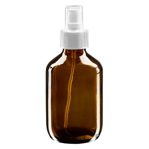 200 ml Euro-Medizinflasche braun mit weissem Zerstäuber inkl. transparenter Kappe