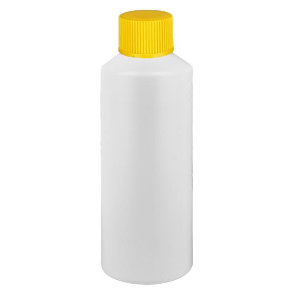 PET Zylinderflasche 75ml weiss, S20x3 mit gelbem SV